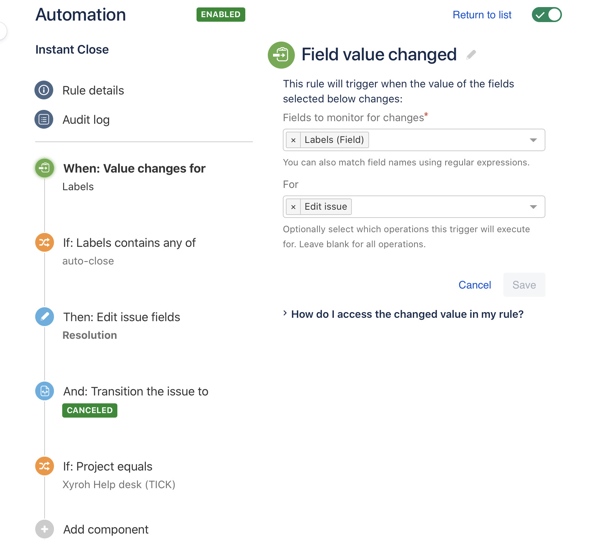example rules to automat jira service desk