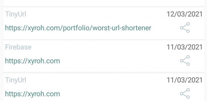 URL Shortener History - Android